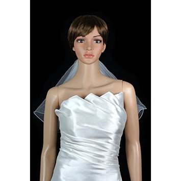 White Flower Girl 2 Tiers Short Communion Wedding Veil Nylon Edge