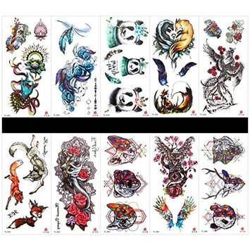 GGSELL GGSELL 10pcs tattoo panda temporary tattoos in one packages,including dragon,feather,rose,panda,phoenix,fox,angel,animal head,owl,etc.