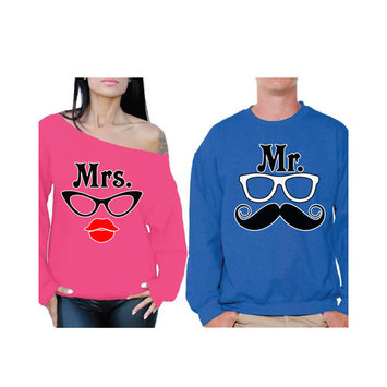 Awkward Styles Mrs and Mr Sweatshirts for Couples Mr & Mrs Anniversary Gifts for Couple Mrs Glasses Off the Shoulder Sweatshirt for Women Mr Mustache Sweater for Men Valentines Day Gifts for Couples