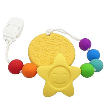 Yellow Silicone Safe Eco Baby Teether Pacifier Cookie Clip Holder - Non-toxic, BPA, PVC, Phthalate, Lead and Latex free, FDA Approved - Pain Relief for Baby, Soft & Durable - Montessori Style …