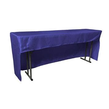 LA Linen TCbridal-OB-fit-96x18x30-RoyalB50 Open Back Fitted Bridal Satin Classroom Tablecloth Royal Blue - 96 x 18 x 30 in.
