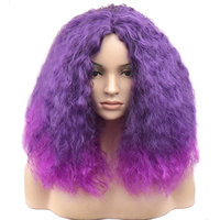 BERON Full Head Short Curly Wigs Ombre Purple Kinky Wigs for Cosplay Party Halloween Come with Wig Cap (Ombre Purple)
