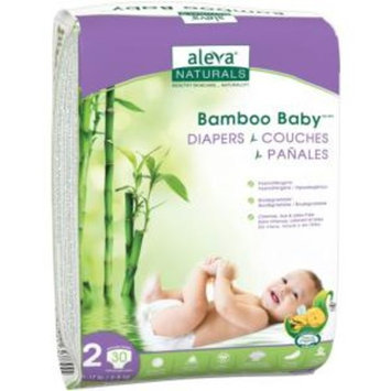 Aleva Naturals Bamboo Baby Diapers, Size 2, 30 Count - 30 Bamboo Baby Diapers - Has Wetness Indicator -Ultra Soft - Cloth Like Feel - Maximum Comfort for Baby - Extra Leak Protection - Made with