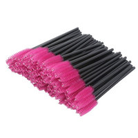 Disposable Eyelash Mascara Brushes Wands Applicator Makeup Kits 100 Pcs, Rose Red