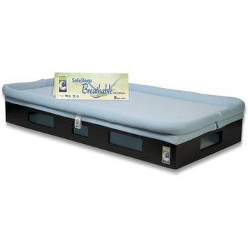 Secure Beginnings SafeSleep Breathable Crib Mattress (Aqua Blue Mattress w/ Espresso Base)