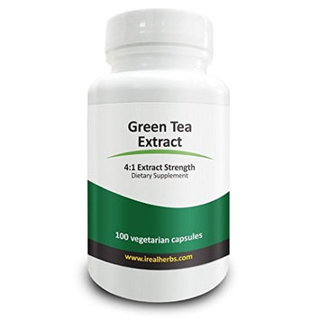 Real Herbs Green Tea Extract - Derived from 2,000mg of Green Tea Powder with 4:1 Extract Strength - Green Tea for Weight Loss - 100 Vegetarian Capsules - A Natural Alternative to Tablets