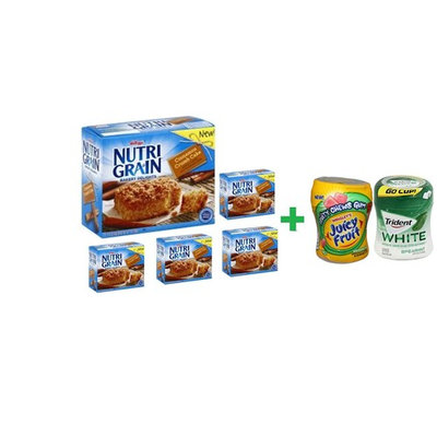 Nutri-Grain Crumb Cake Bakery Delights Cinnamon - 5-1.41 Oz (5 PACK)+ Fruity Chews Gum Watermelon 1/60 Count + Trident Go Cup Spearmint 1/60 Count