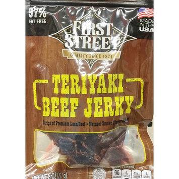 8oz First Street Teriyaki Beef Jerky, Strips of Premium Lean Beef (Pack of 1)