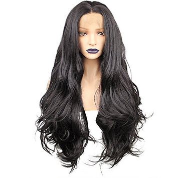 Anogol Hair Cap+26'' Natural Black 2# Lace Front Wig Long Wavy Wigs Middle Part Hair Synthetic Heat Resistant for Women Fancy Dress