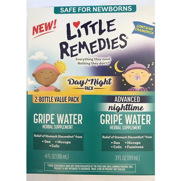 Little Remedies Day & Night Gripe Water Value Pack | Herbal Supplement | 2 Bottles | Gently Relieves Stomach Discomfort from Gas, Colic, and Hiccups | Safe for Newborns [Gripe Water and Gripe Water Herbal Supplement]