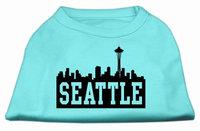 Mirage Pet Products 5173 LGAQ Seattle Skyline Screen Print Shirt Aqua Lg 14