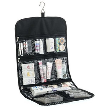 Hanging Toiletry Bag for Women ODESSA. Ideal for Storing Cosmetics, Makeup and Jewelry in an Organized Way. Large Size, Various Compartments. Black with White Polka Dots.