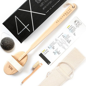 Minamul Luxurious All Natural Dry Body Brushing and Face Brush Bundle, Long Detachable Handle with Natural Boar Bristles, Shower and Bath Brush