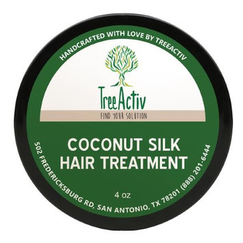TreeActiv Coconut Silk Hair Treatment (4 oz) Natural Deep Conditioner Revitalize Dry Damaged Fibers Men, Women, Teens Encourage Growth Keratin Vitamin B5 Silk.