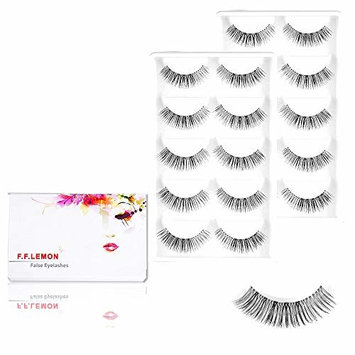 Fake wispies demi eyelashes, FFLEMON 10 Pairs Nature Wispy False Eyelashes, Demi Wispies Super Nature Fake Eyelashes, wispy long lashes, Handmade Reusable Transparent Stem