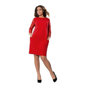Women Dress, Realdo Plus Size 3/4 Sleeve Casual Loose Party Dress Red, US 20