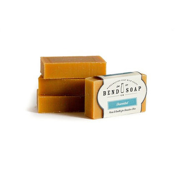 Bend Soap Company All Natural Handmade Goat Milk Soap for Dry Skin Relief, Unscented, 4 Count [Unscented]