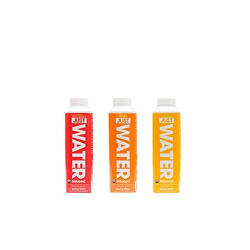 JUST Water Infused Mixed Case, 4 of Each Flavor: Tangerine, Lemon, Apple Cinnamon, 100% Spring Water in a Paper-Based Recyclable Bottle, No Sugar or Artificial Flavors, 16.9 Oz, (Pack of 12)