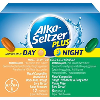 2 Pack - Alka-Seltzer Plus Day & Night Cold & Flu Liquid Gels 20 Count Each