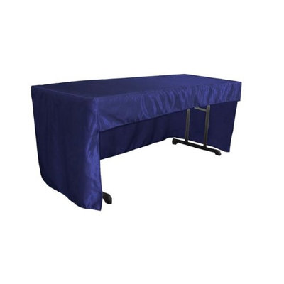LA Linen TCbridal-OB-fit-96x30x30-RoyalB50 2.47 lbs Open Back Fitted Bridal Satin Classroom Tablecloth Royal Blue - 72 x 30 x 30 in.