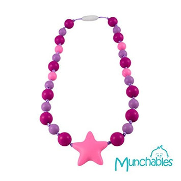 Sensory Oral Motor Aide Chewelry Necklace - Chewy Jewelry for Sensory-Focused Kids with Autism or Special Needs - Calms Kids and Reduces Biting/Chewing - Starlight Necklace (Fuchsia/Pink/Purple)