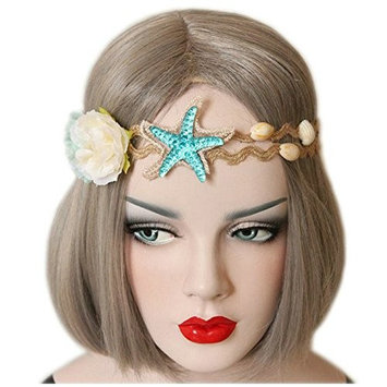 Joyci BOHO Women's Hair Band Starfish Shell Travel Headband Party Garland
