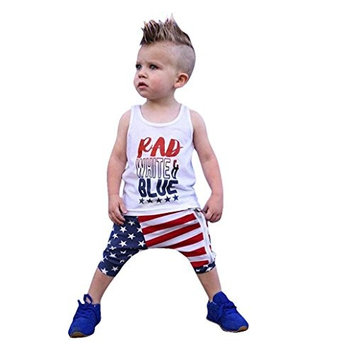 Baby Clothes Set, AutumnFall ▶▶Toddler Baby Girls Boys Stars Striped Tops Vest T Shirt Zipper Shorts 4th Of July Outfits Set for 12M-4T Baby