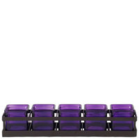 Couronne Co. Five Square Glass Containers & Metal Linear Stand, Violet