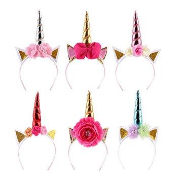 Eworld -6 Pcs Baby Golden Sliver Unicorn Horn Headband - Rose Flower Hairband Animal Photo Props with Glitter Ears for Unicorn Birthday Cosplay Party (Unicorn)