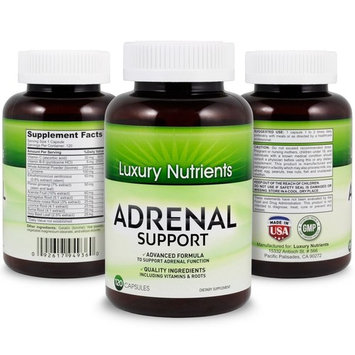 Adrenal Support Contains Vitamin C, Vitamin B-6, Magnesium, Licorice, Acerola Fruit, Astragalus Root and more. Reduces Stress, Fatigue Herbal Supplement by Luxury Nutrients 120 count- 60 Day Supply
