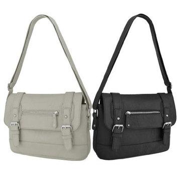 Starling Ladies Faux Leather Satchel Messenger Shoulder Bag Black [New Black]