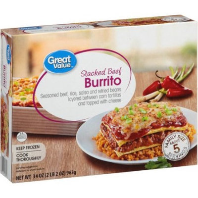 Great Value Stacked Beef Burrito, 34 oz.