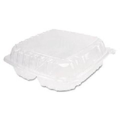 Dart 3-Compartment Clearseal Plastic Hinged Container 100/Bag in Clear