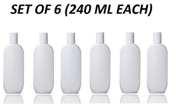 Grand Parfums Ii White Empire Plastic Lotion Bottles, 240ml with Dispensing Caps Set of 6