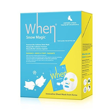 When Snow Magic Premium Bio-Cellulose Radiance Sheet Masks for Face (Pack of 12)