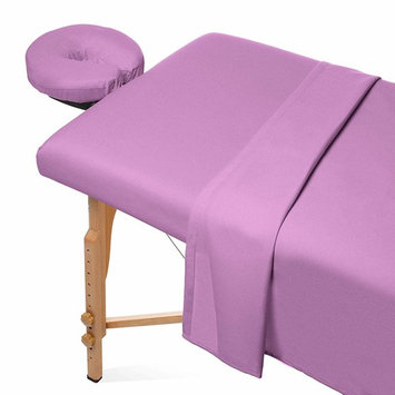 Saloniture 3-Piece Flannel Massage Table Sheet Set - Soft Cotton Facial Bed Cover - Includes Flat and Fitted Sheets with Face Cradle Cover - Lavender Purple