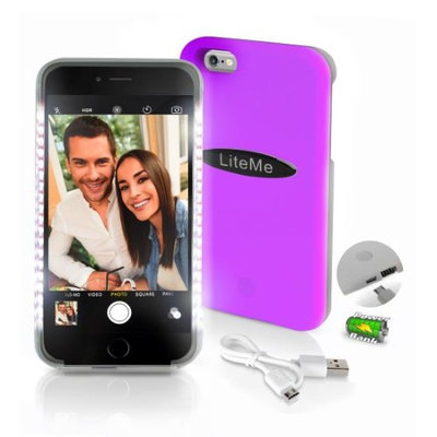 Serene-life Lite-Me Selfie Lighted Smart Case, iPhone Protection with Built-in Power Bank & LED Lights, Pink
