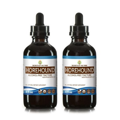 Secrets Of The Tribe Horehound Tincture Alcohol-FREE Extract, Organic Horehound (Marrubium vulgare) Dried Herb 2x4 oz