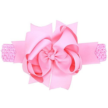 dds5391 Cute Baby Toddler Girls Kids Sweet Hair Band Big Bowknot Solid Color Headband Hairband - Pink