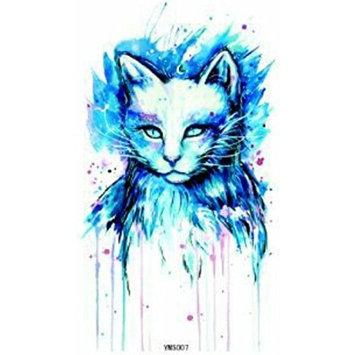 Grashine long last temporary tattoos Blue cat look like real temporary tattoo stickers