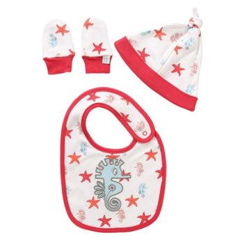 Rockin' Baby Red & White Sea Horse Cozy Bib Set