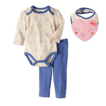 Bon Bebe Baby Girls' 3-Piece Outfit - oatmeal/blue, 6 - 9 months