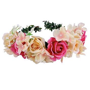 BABEYOND Nature Vintage Champagne Rose Flower Crown Garland Headband for Wedding Festivals Art Deco