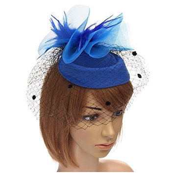 SODIAL(R) Women Handmade Hair Clip Accessory Wedding Veil Hat Feather Color:Blue