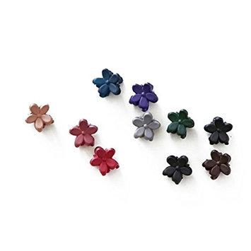 cuhair 10pcs Bangs Mini Hair Claw Clip Hair Pin Flower for Girl Mix Colored