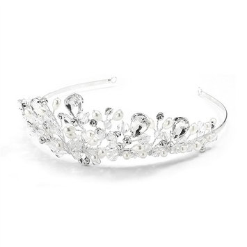 Handmade Bridal Tiara with Faceted Crystal Beads, Bold Pears and Soft Cream Pearls