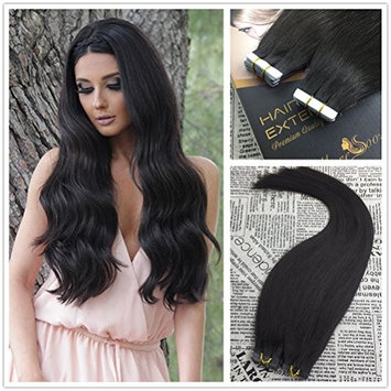 Moresoo 22 Inch Tape on Hair Extensions Darkest Brown Color #2 50g/20pcs Straight Unprocessed Remy Human Hair with Invisible Tape Glue on Human Hair Extensions