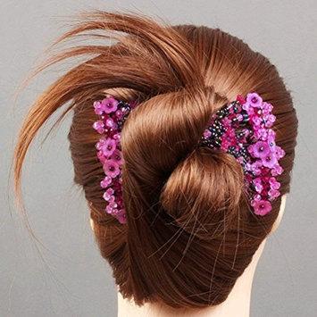 cuhair 1pcs Fashion Magic Flower Elasticity Double Hair Comb Clip Stretchy Women Hair Accessories