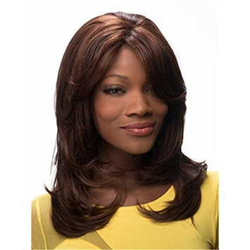 Long Curly Wigs Dark Brown Deep Shaggy Chestnut Wigs Middle Part Heat Resistant Synthetic Wigs for African American Women 16 Inch