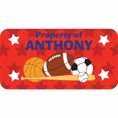 Personalized Kids Property Labels, All Star Boy